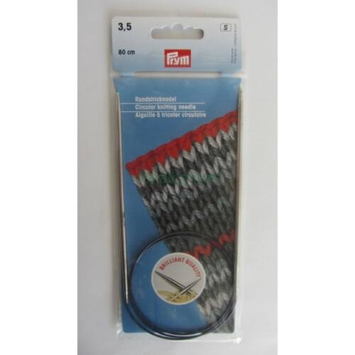 PRYM  Körkötőtű, krómozott sárgaréz, 80cm-es, 3,5mm, 212134