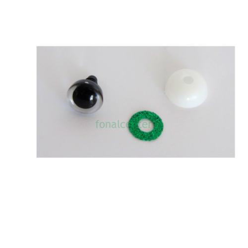 Biztonsági szem játékhoz/bábuhoz, méret: 16 mm, glitteres, smaragdzöld színű - 1 pár
