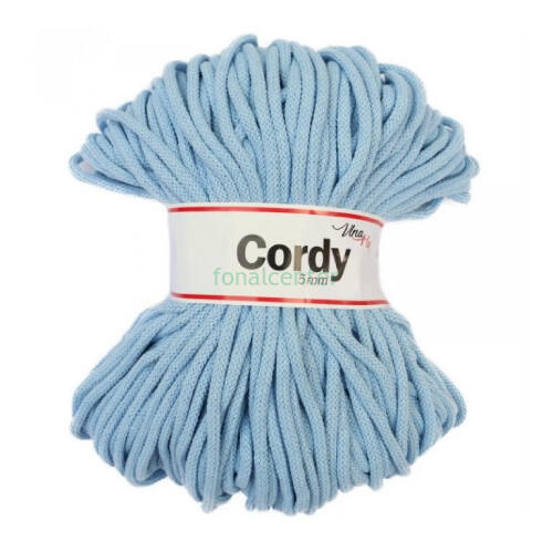 Zsinórfonal - 5 mm, 100 m - világos kék - Cordy, cseh minőségi pamut zsinórfonal