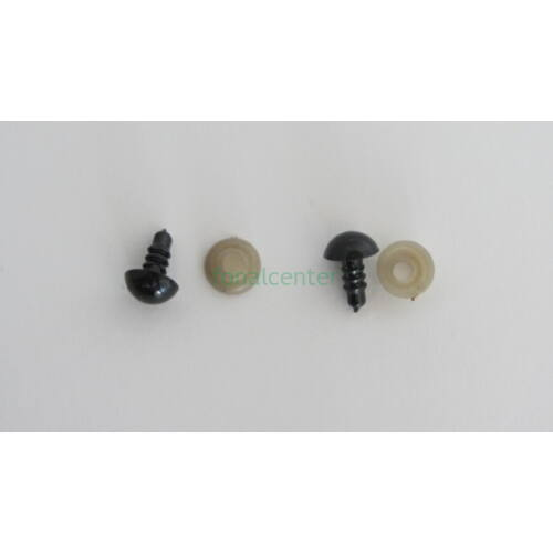 Biztonsági szem játékhoz/bábuhoz, méret: 09 mm, fekete színű - 1 pár