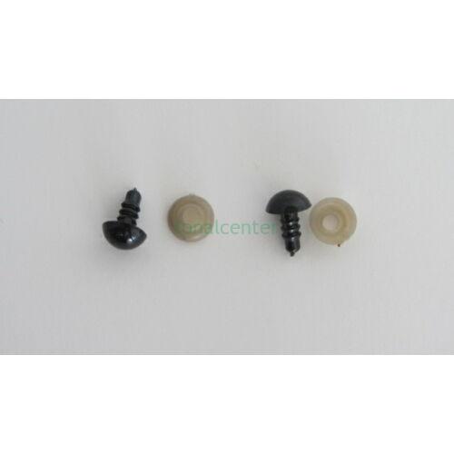 Biztonsági szem játékhoz/bábuhoz, méret: 09 mm, fekete színű - 3 pár