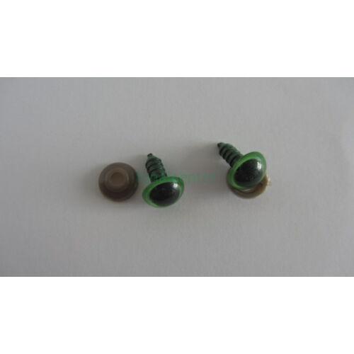 Biztonsági szem játékhoz/bábuhoz, méret: 12 mm, zöld színű - 1 pár
