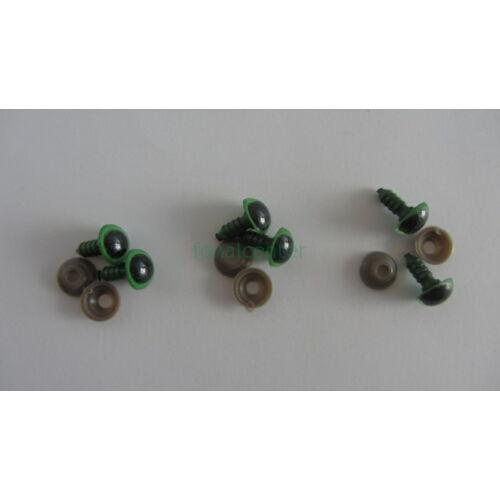 Biztonsági szem játékhoz/bábuhoz, méret: 12 mm, zöld színű - 3 pár