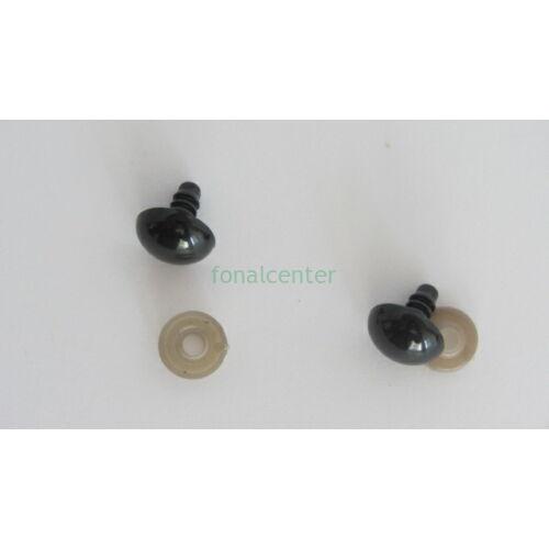 Biztonsági szem játékhoz/bábuhoz, méret: 14 mm, fekete színű - 1 pár