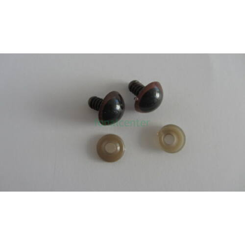 Biztonsági szem játékhoz/bábuhoz, méret: 15 mm, barna színű - 1 pár