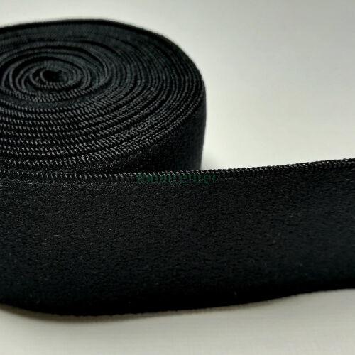 Minőségi plüss gumi pertli, ( gumipertli )  -  38 mm, fekete, gazdaságos CSALÁDI CSOMAG  - 10 méter/csomag