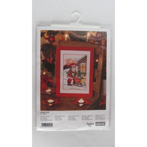 Santa and sledge/Mikulás szánkóval-leszámolható keresztszemes készlet-Anchor1508