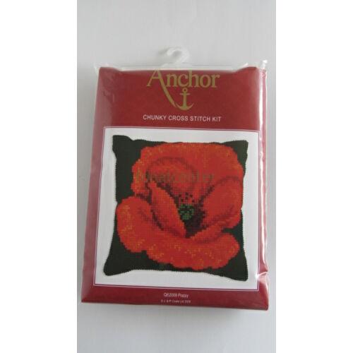 Poppy  chunky cushion/Pipacs -párna-leszámolható keresztszemes készlet- Anchor2009