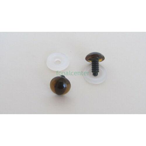 Biztonsági szem játékhoz/bábuhoz, méret: 13,5 mm, borostyán színű - 1 pár