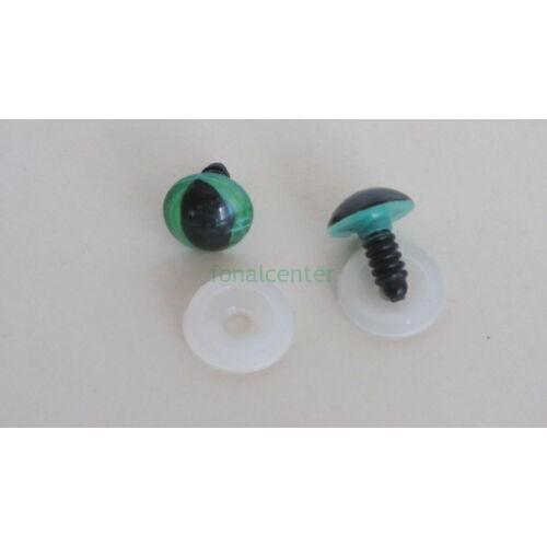 Biztonsági szem játékhoz/bábuhoz, méret: 13,5 mm, zöld színű - 1 pár
